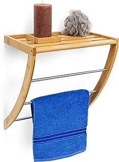 Relaxdays Uchwyt na ręczniki ścienne z 3 drążkami na ręczniki wys. x szer. x gł.: 40 x 38 x 24,5 cm, drewno, naturalny brąz