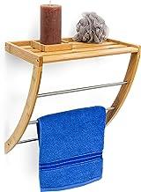 Relaxdays Wandhanddoekhouder met 3 handdoekstangen HBT 40 x 38 x 24,5 cm, hout, natuurbruin