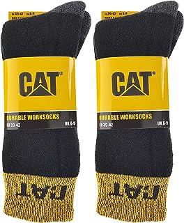 Caterpillar, Durable Worksocks 4 pares de calcetines de trabajo duraderos, puntera y talón ultra reforzados, en algodón de felpa