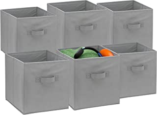 Foldable Cube Storage Bins - 6 Pack - These Decorative Fabric Storage Cubes are Collapsible and Great Organizer for Shelf, Closet or Underbed. Convenient for Clothes or Kids Toy Storage (Grey)