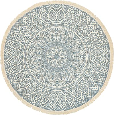 GEVES Aqua Blue Mandala Area Rug Bohemian Round Rugs with Tassels for Living Room Bedroom Carpet Floor Mat Easy to Clean Boho Decor