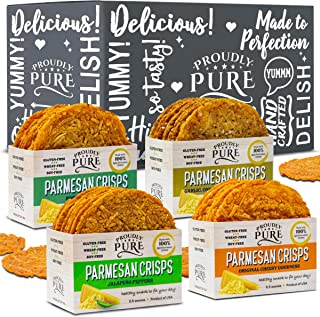 Sponsored Ad - Proudly Pure Salty Keto Snacks Parmesan Cheese Crisps Bread (4 Pack Variety Bundle) Low Carb Crunchy Chips ...