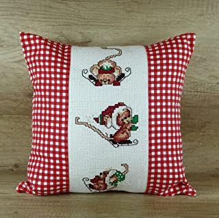 Red Plaid Christmas Pillow Cover Handmade Mouse Hand Embroidered Сushion Gift for Her Women Ladies Lady Rustic Home Decor