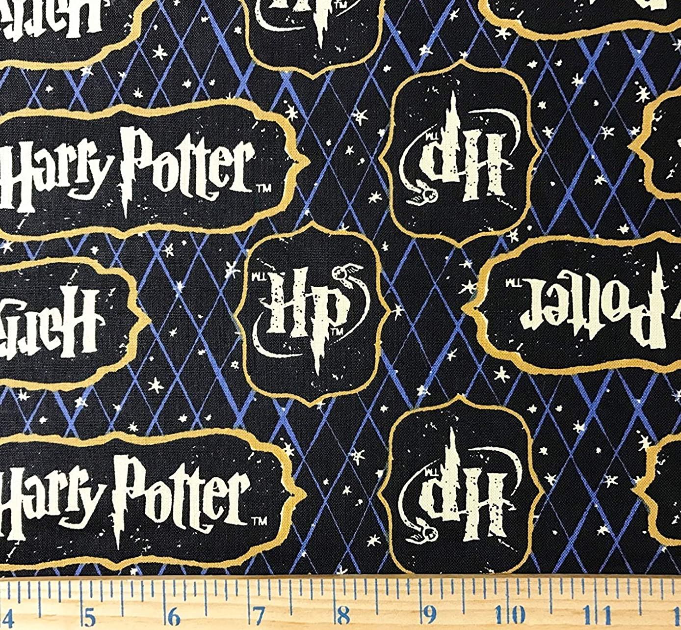 PreCut 1 Yard - Harry Potter Logo on Navy Blue Lattice Cotton Fabric - Officially Licensed (Great for Quilting, Sewing, Craft Projects, Throw Blankets & More) Pre-Cut 1 Yard X 44