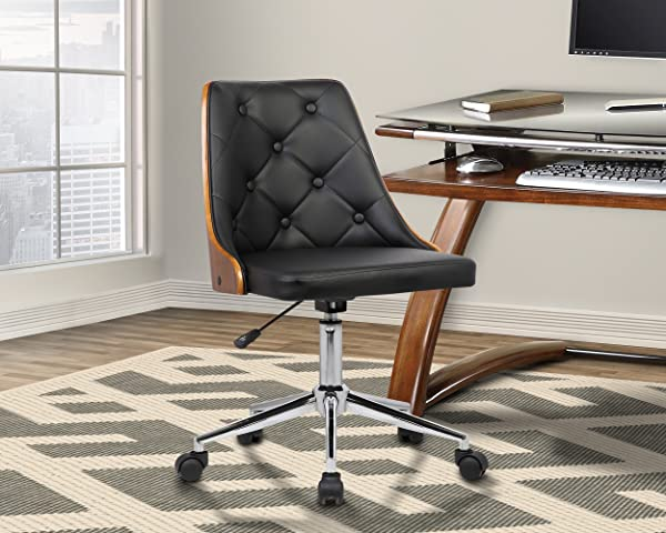 Armen Living LCDIOFCHBLACK Diamond Office Chair In Black Faux Leather And Chrome Finish