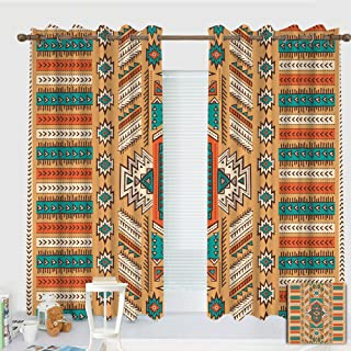 ZXAWT Custom design curtains/Grommet Top Blackout Curtains/Thermal Insulated Curtain For Bedroom And Kitchen-Set of 2 Panels(Indian Aztec Secret Tribe Pattern Native American Bohemian Style W:183cm L:183cm )