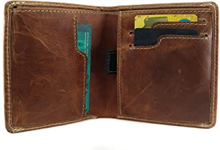 Chalk Factory Men's Modern Genuine Leather Bifold Wallet with Pull Strap for Cards (Tan)