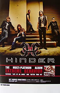 Hinder - Extreme Behavior - Poster - New - Rare - Joe Garvey - Cody Hanson - Austin Winkler - Mark King - Mike Rodden - Lips Of An Angel - Get Stoned - Better Than Me - How Long - Born To Be Wild - Homecoming Queen - Shoulda- By the Way