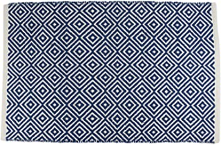 DII Contemporary Reversible Indoor Area Rug/Mat, Machine Washable, Handmade from Cotton, Unique For Bedroom, Living Room, Kitchen, Nursery and more, 2 x 3' - Nautical Blue Diamond (Color may vary)