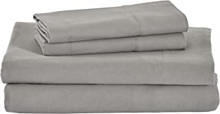 Stone & Beam Rustic Solid 100% Cotton Flannel Bed Sheet Set, Queen, Heather