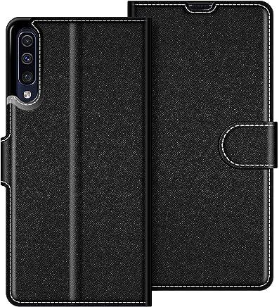 COODIO Custodia in Pelle Samsung Galaxy A50, Custodia Samsung Galaxy A50, Custodia Portafoglio Cover Porta Carte Chiusura Magnetica per Samsung Galaxy A50, Nero