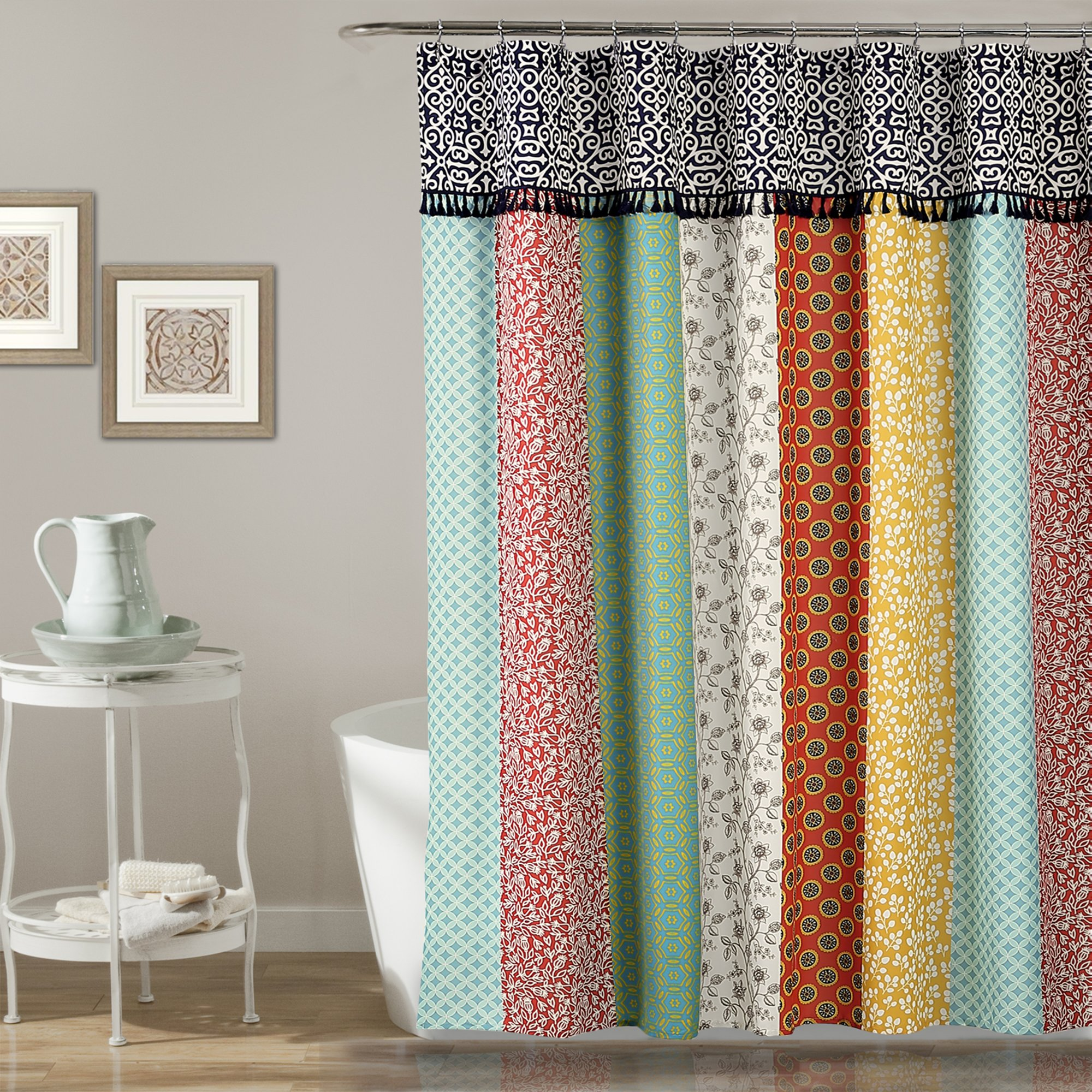 Fabric Shower Curtain 72 x 70 Printed Patterns Floral 15 Styles Geometric