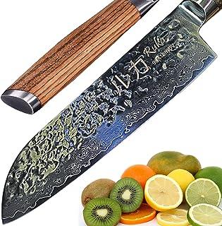RUKA Cuchillo de cocina Santoku de acero de damasco 19 cm, aspecto martillado, acero japonés VG-10 afeitadora de 67 capas, cuchillos Santoku Damasco con mango ergonómico