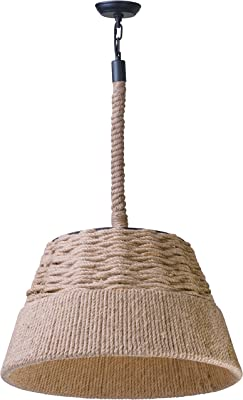 "Maxim 39600HP Olde World Antique Rope Bell Pendant Ceiling Light, 1-Light 60 Watt, 14""H x 24""W, Hemp Rope"