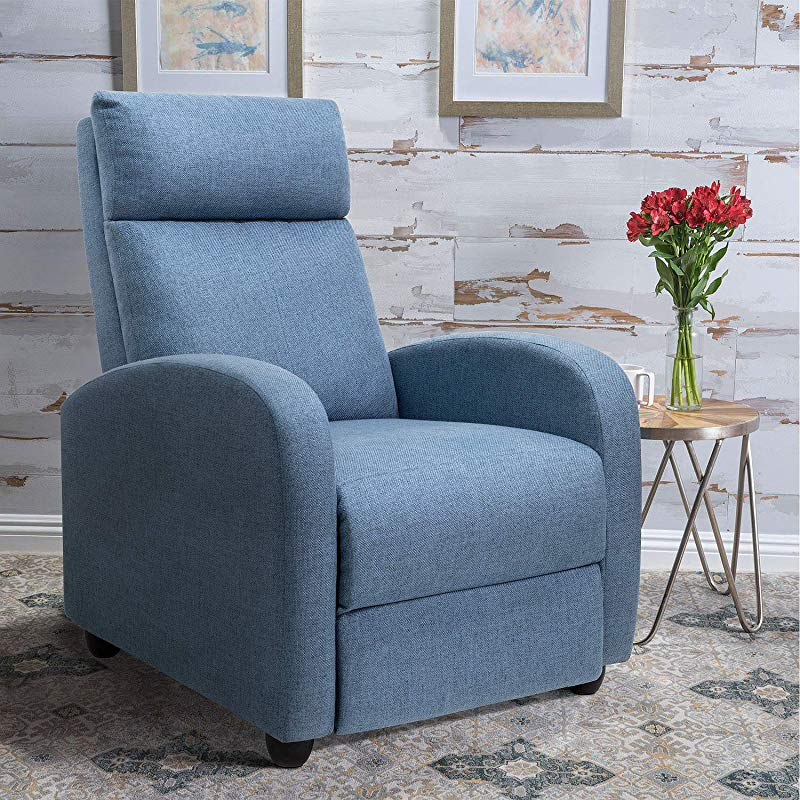 Tuoze Fabric Recliner Chair Ergonomic Adjustable Single Sofa With Thicker Seat Cushion Modern Home Theater Seating For Living Room Blue