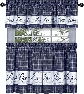 GoodGram Country Gingham Check Live~Laugh~Love 3 Pc. Café Plaid Kitchen Curtain Set - Assorted Colors & Sizes (Navy, 36 in. L)