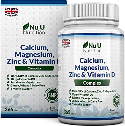 Calcium, Magnesium, Zinc & Vitamin D Supplement | 365 Vegetarian Tablets | 6 Month Supply of Nu U Nutrition Osteo Supplement