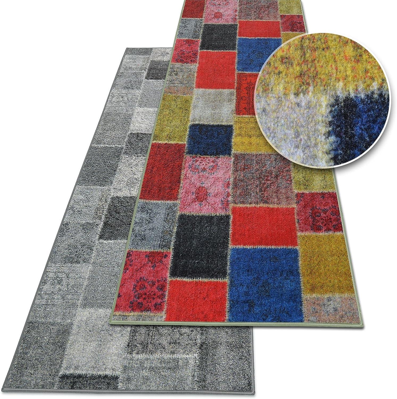 Teppichläufer Monsano   Patchwork Patchwork Patchwork Muster im Vintage Look   viele Größen   rutschfester Teppich Läufer für Flur, Küche, Schlafzimmer   Niederflor Flurläufer   anthrazit Breite 80 cm x Länge 250 cm B071J8R5S8 00a351