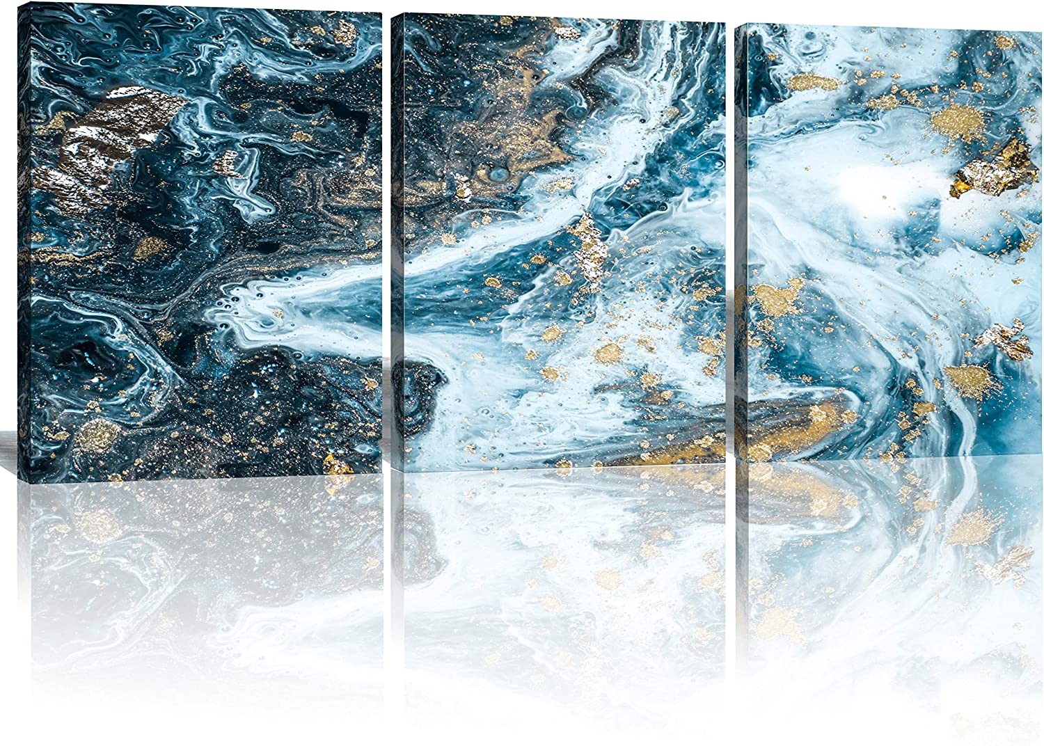 Oiney Cheap mail order sales half Nature Blue Abstract Canvas Wall 3 Aquamarine M Art Panels