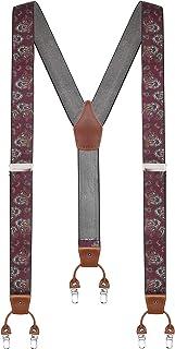 Calvertt - Tirantes de vestir para hombre de piel auténtica, 6 clips