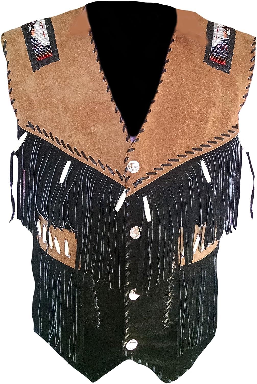 Classyak Men's Cowboy Suede Leather Vest