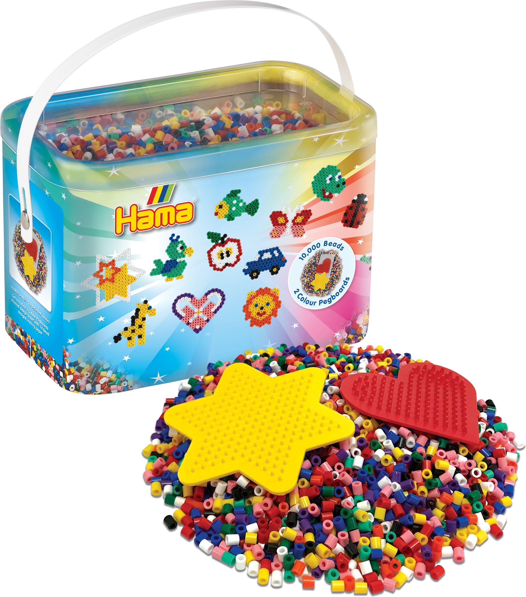 Hama 10.000 Cuentas y 2 tableros de Clavijas de Colores en Cubo, Multicolor, 10,000 Beads (10.202UK18): Amazon.es: Juguetes y juegos