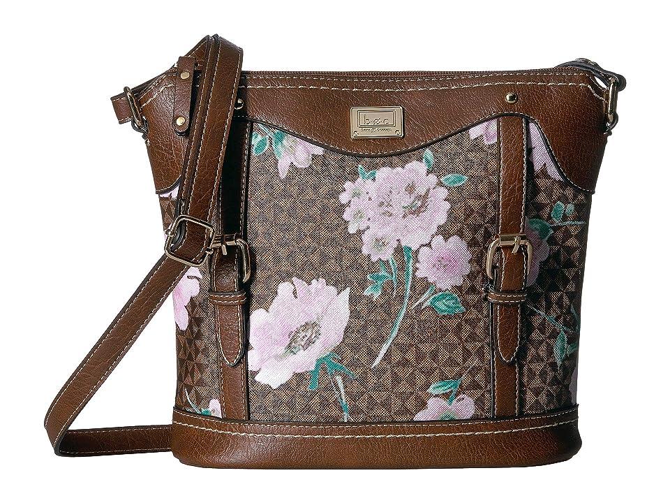 b.o.c. Travis Floral Crossbody (Chocolate/Saddle) Cross Body Handbags, Brown