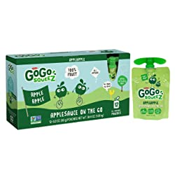 GoGo squeeZ Applesauce on the Go, Apple Apple, 3.2 Ounce (12 Pouches), Gluten Free, Vegan Friendly,