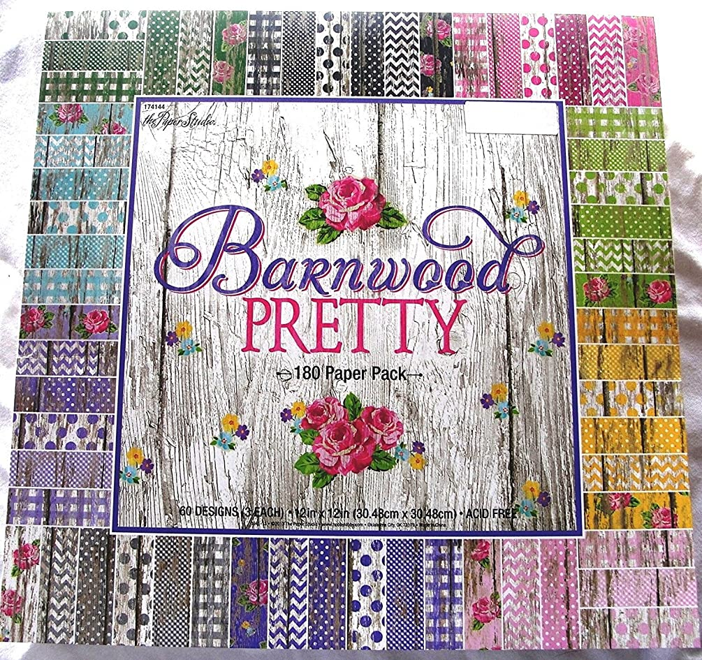 Barnwood Pretty 12x12 Scrapbooking Paper Pack 180 Sheets Chevron, Dots, Roses, Gingham, Country, Shabby, Farm Vintage, Old Wood
