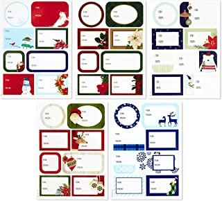 Hallmark Holiday Gift Tag Stickers (80 Labels, Rustic Reindeer, Mittens, Plaid) Classic Christmas