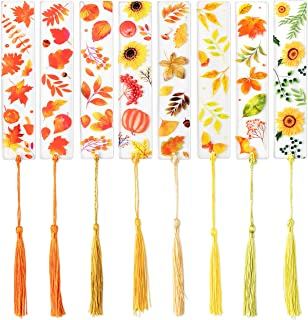 Sponsored Ad - GROBRO7 8Pcs Autumn Acrylic Bookmarks Pumpkins Sunflowers Leaves Patterns Transparent Reading Bookmark with...