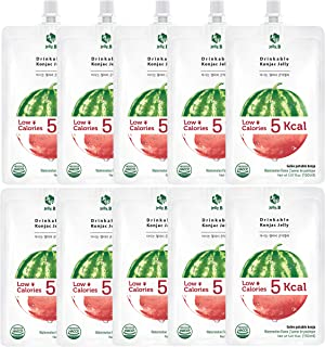 Jelly.B Drinkable Konjac Jelly (10 Packs of 150ml) - Healthy and Natural Weight Loss Diet Supplement Foods, 0 Gram Sugar, Low Calorie, Only 6 kcal Each Packets, (Watermelon)