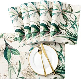 SyMax Printed Table Placemats Wrinkle-Free Waterproof Placemats for Dining Table (Orchid, 6pcs)