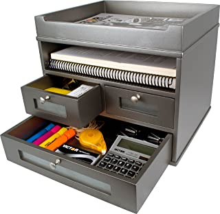 Victor Wood Tidy Tower Desktop Organizer, S5500 (Classic Silver) …