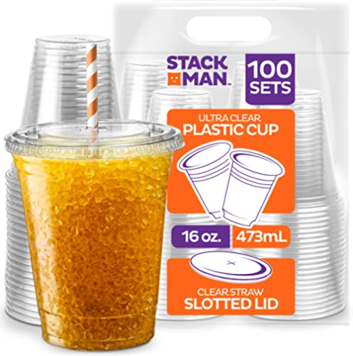 Stack Man [100 Sets - 16 oz.] Clear Plastic Cups with Straw Slot Lid, PET Crystal Clear Disposable 16oz Plastic Cups ...