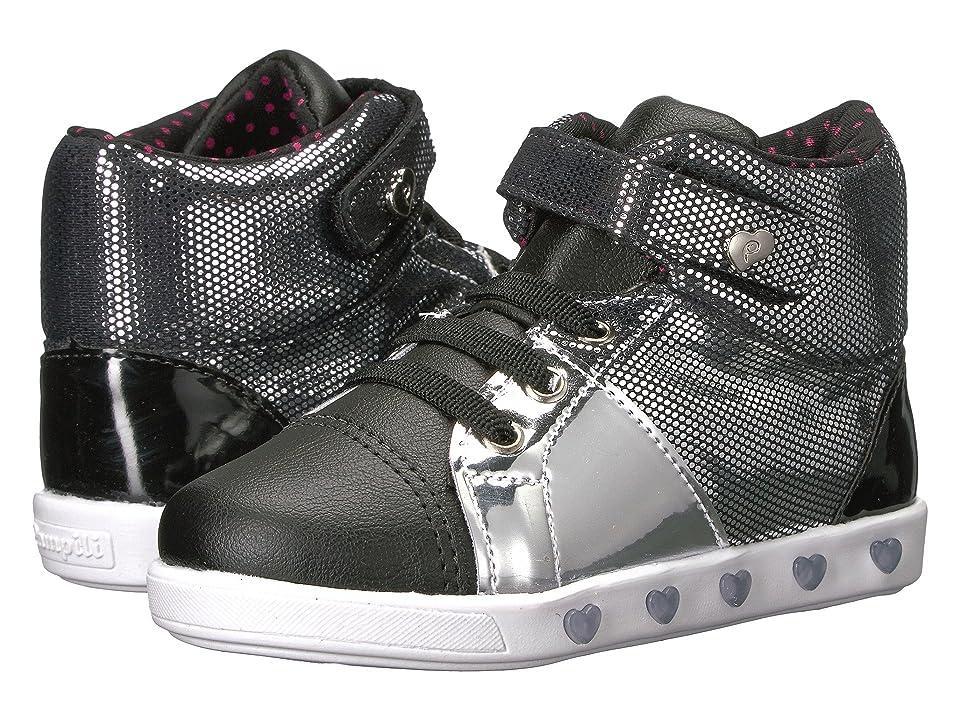 Pampili Sneaker Luz 165020 (Toddler/Little Kid) (Preto/Prata) Girl