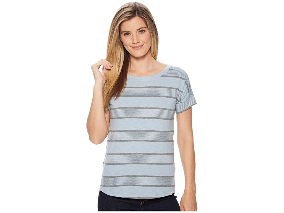The North Face Short Sleeve Sand Scape Tee (Dusty Blue Stripe) Women