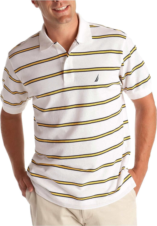Nautica Men's Sportswear Stain Resistant Striped Pique Polo