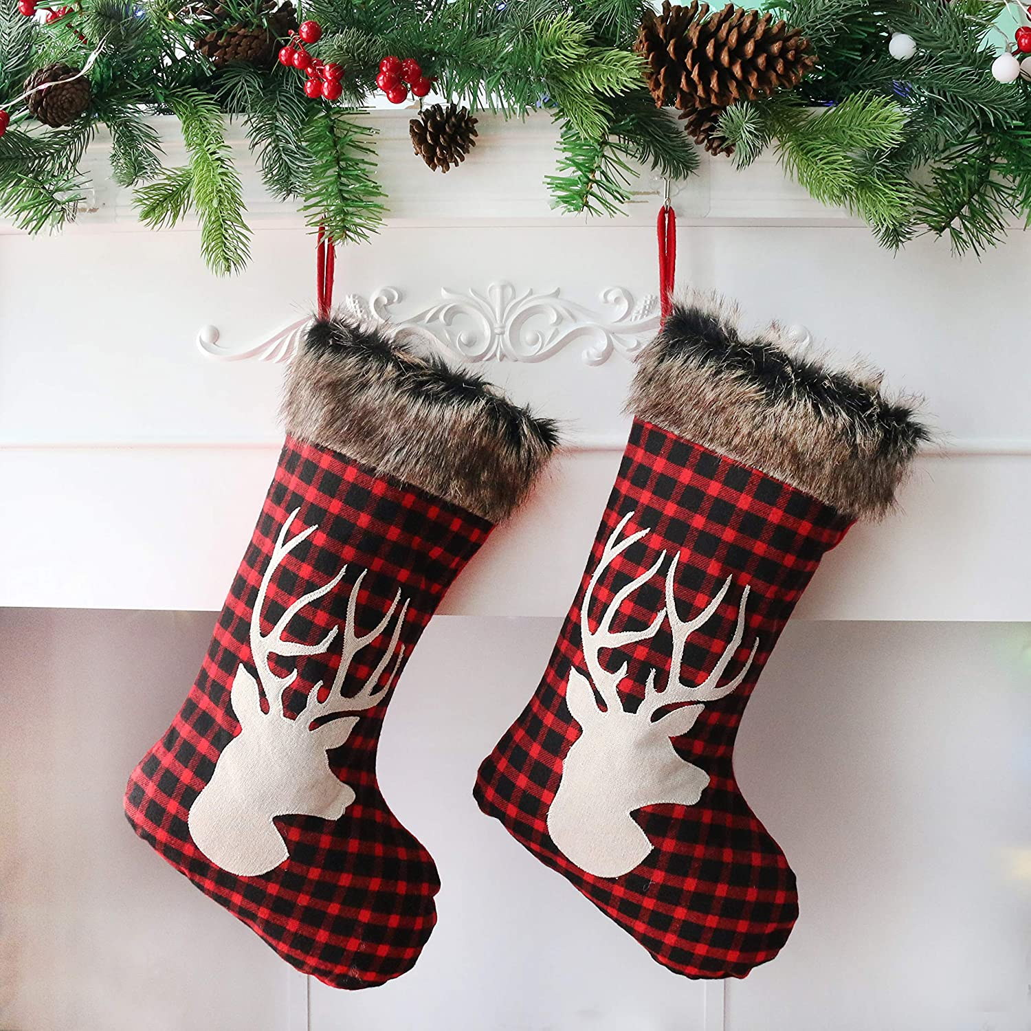 Houwsbaby Spasm price 2 Pcs Christmas Stockings Large Set Many popular brands Holders with Plaid