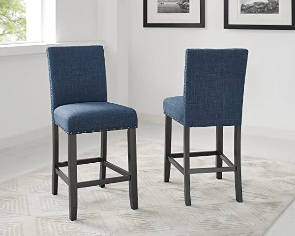 Biony Blue Fabric Counter Height Stools With Nailhead Trim Set Of 2