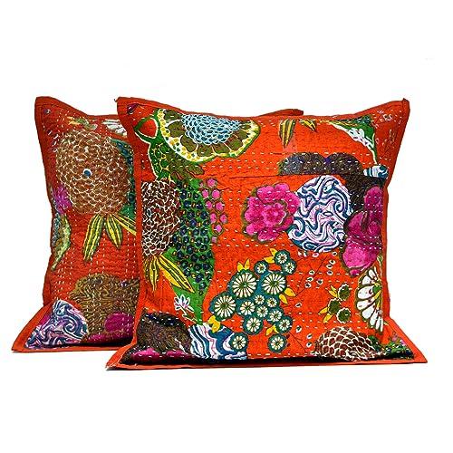 Indian Mandala Pillow Cover Tie Dye Handmade Kantha Work Cushion Case Sham Throw