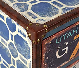 ts-ideen Container estantería cómoda armario de diseño estilo retro shabby UTAH industrial con piel sintética y cajones