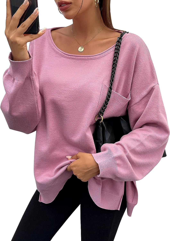 PRETTYGARDEN Women's Off Shoulder Sweater Loose Pullover Long Sleeve Oversize Sweaters for Winter