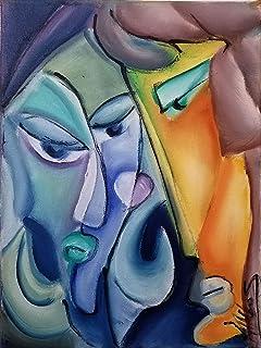 """Pintura Abstracta Lienzo al Óleo Arte Moderno """" TU y YO"""" por DOBOS, Cuadro para Decoración del Hogar, sala de estar, dormi..."""