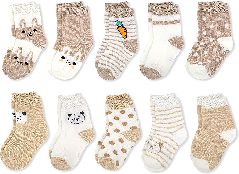 0-6T Cute Cotton Cartoon Socks for Baby Toddler Kid Girl Boy 10-Pack