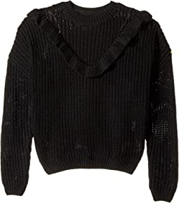 Blank NYC Kids - Ruffle Sweater in Black of Night (Big Kids)