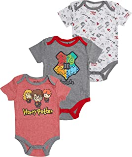 Harry Potter Baby Boys' Crewneck, 3 Pack Red-White-Grey