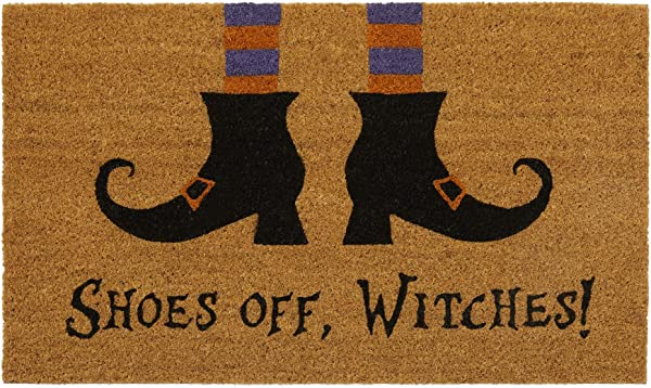 Elrene Home Fashions Novelty Halloween Shoes Off Witches Coir Door Mat 18 X 30 Multi