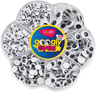 Edukit 600 Pieces Wiggle Googly Eyes with Self-adhesive, 6mm-12mm Assorted DIY Scrapbooking Crafts Toy Accessories