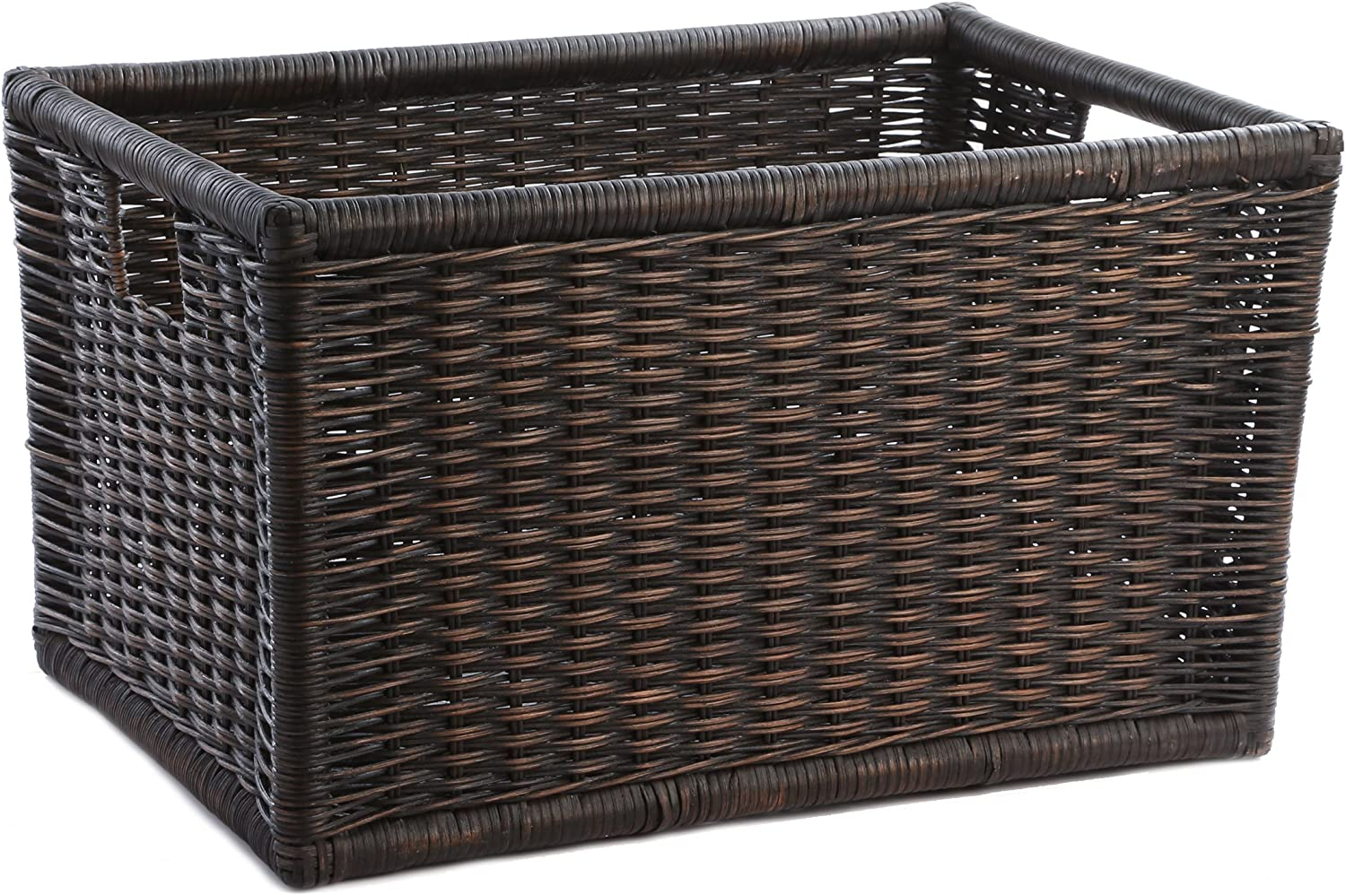 Amazon Com The Basket Lady Wicker Kitchen Cabinet Basket Or Pantry Basket Small 17 75 In L X 9 25 In W X 9 In H Antique Walnut Brown Home Kitchen